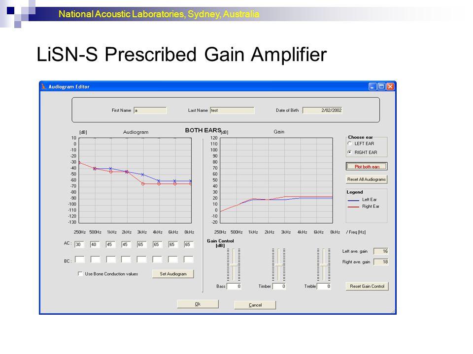 National Acoustic Laboratories, Sydney, Australia LiSN-S Prescribed Gain Amplifier