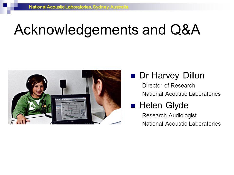 National Acoustic Laboratories, Sydney, Australia Acknowledgements and Q&A Dr Harvey Dillon Director of Research National Acoustic Laboratories Helen