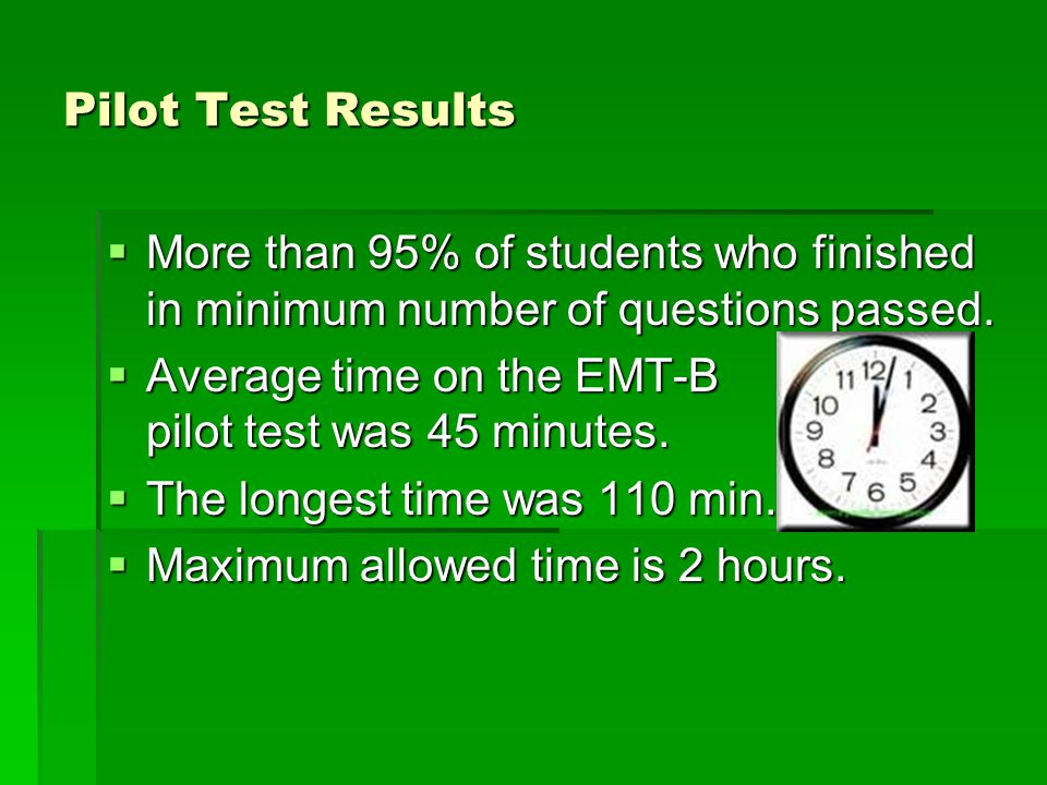 Pilot Test Results  More than 95% of students who finished in minimum number of questions passed.
