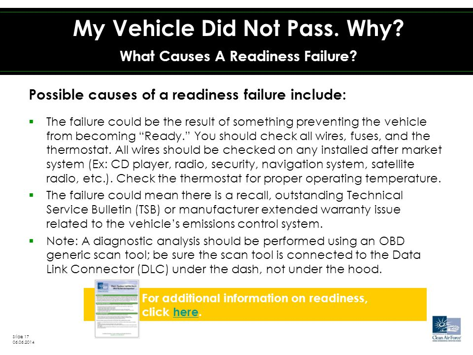Possible causes of a readiness failure include:  The failure could be the result of something preventing the vehicle from becoming Ready. You should check all wires, fuses, and the thermostat.