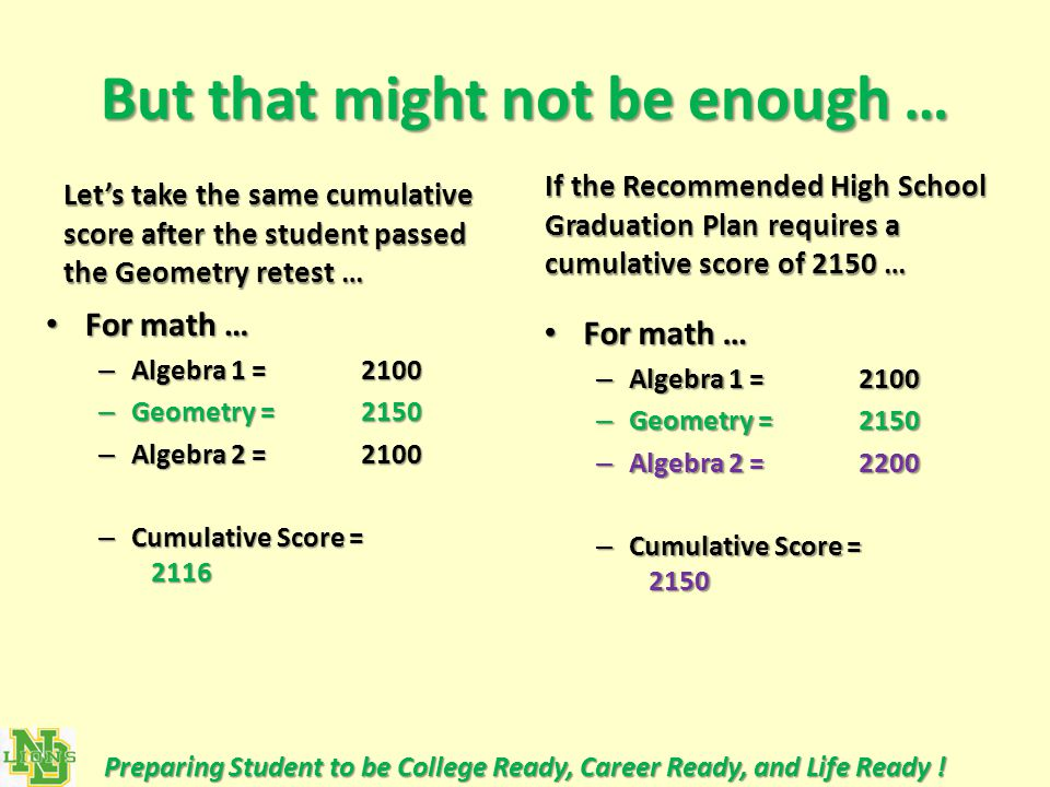 But that might not be enough … Let's take the same cumulative score after the student passed the Geometry retest … For math … For math … – Algebra 1 = 2100 – Geometry = 2150 – Algebra 2 = 2100 – Cumulative Score = 2116 If the Recommended High School Graduation Plan requires a cumulative score of 2150 … For math … For math … – Algebra 1 = 2100 – Geometry = 2150 – Algebra 2 = 2200 – Cumulative Score = 2150 Preparing Student to be College Ready, Career Ready, and Life Ready !