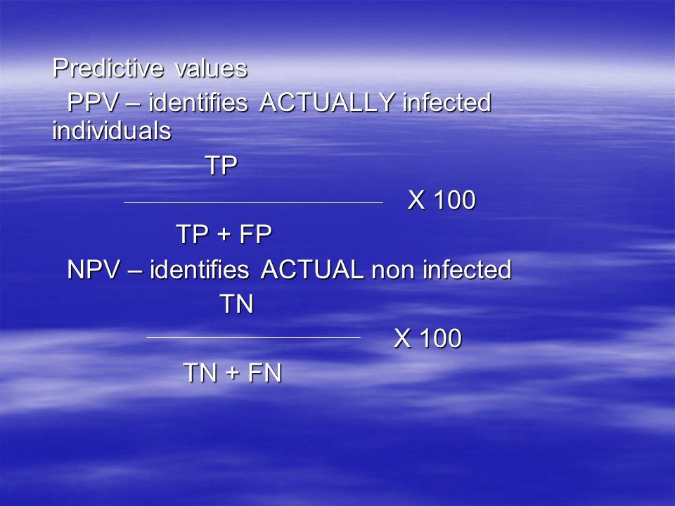 Predictive values PPV – identifies ACTUALLY infected individuals PPV – identifies ACTUALLY infected individuals TP TP X 100 X 100 TP + FP TP + FP NPV