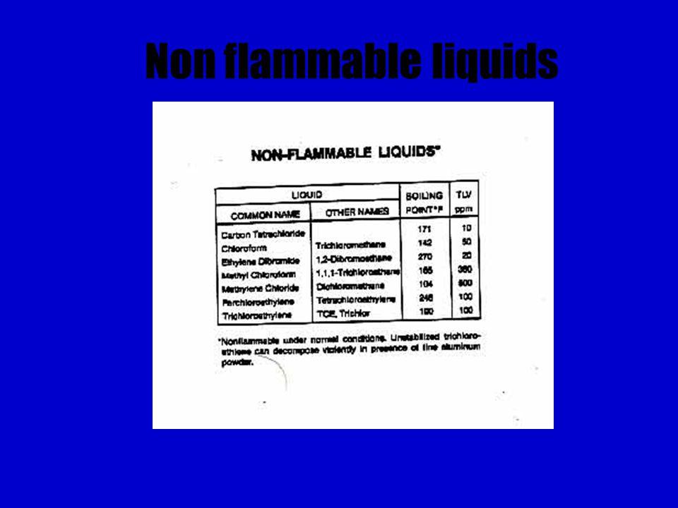 Non flammable liquids