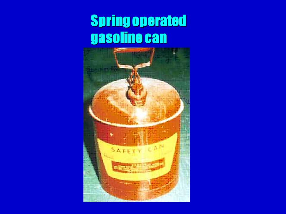 Spring operated gasoline can