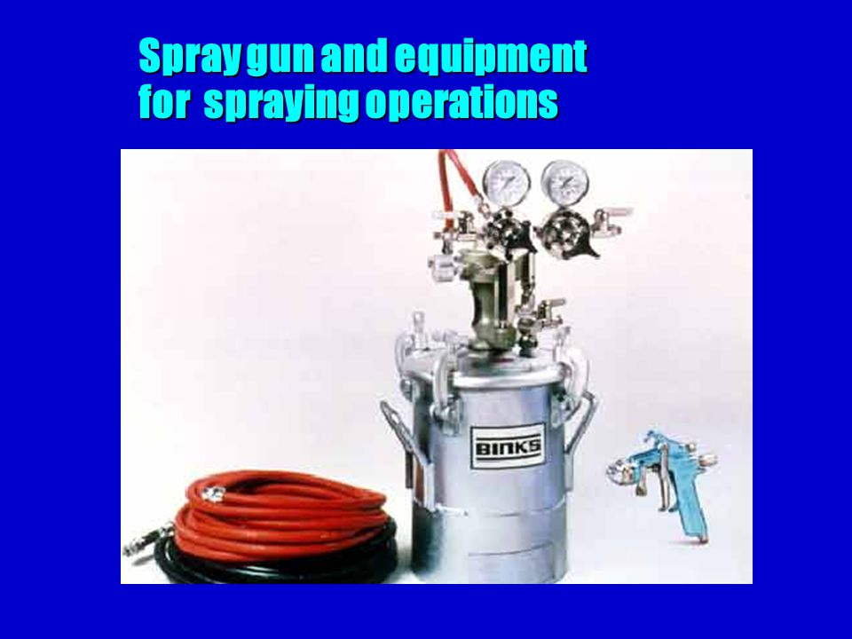 Spray gun and equipment for spraying operations