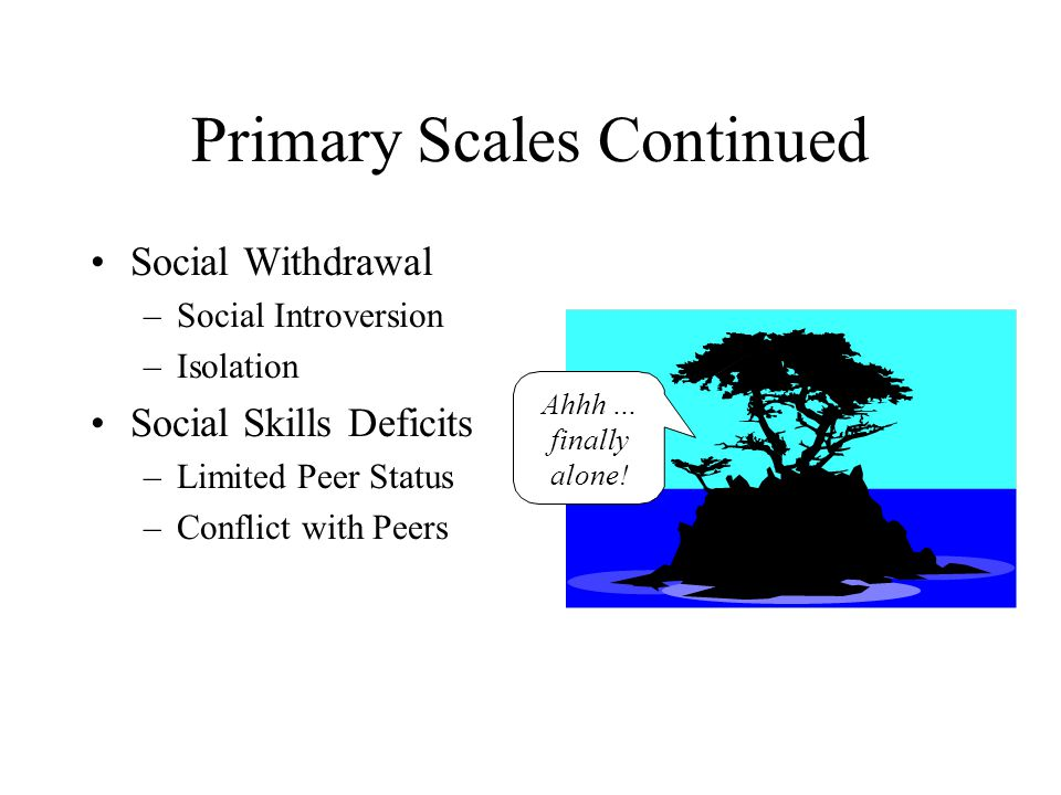 Primary Scales Continued Social Withdrawal –Social Introversion –Isolation Social Skills Deficits –Limited Peer Status –Conflict with Peers Ahhh … fin