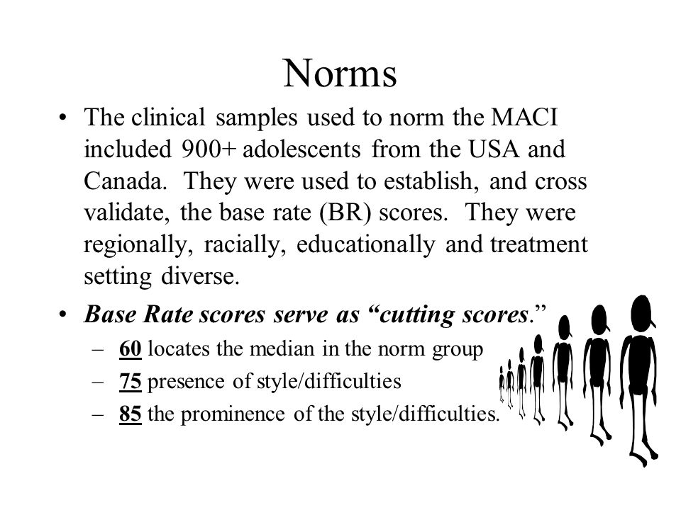 Norms The clinical samples used to norm the MACI included 900+ adolescents from the USA and Canada. They were used to establish, and cross validate, t