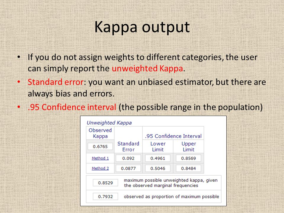 Kappa output If you do not assign weights to different categories, the user can simply report the unweighted Kappa.
