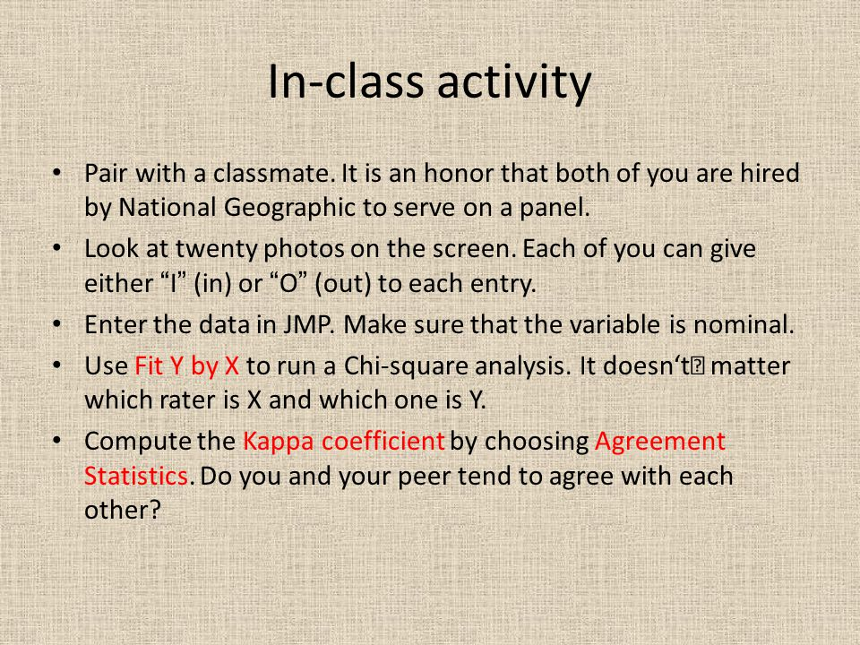 In-class activity Pair with a classmate.