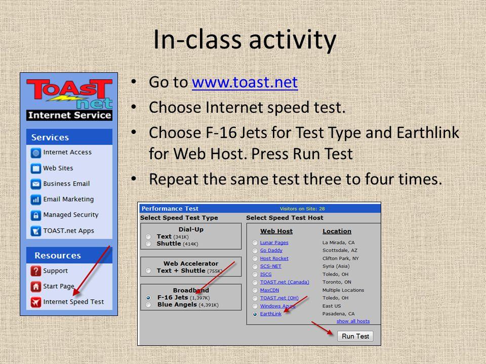 In-class activity Go to www.toast.netwww.toast.net Choose Internet speed test.