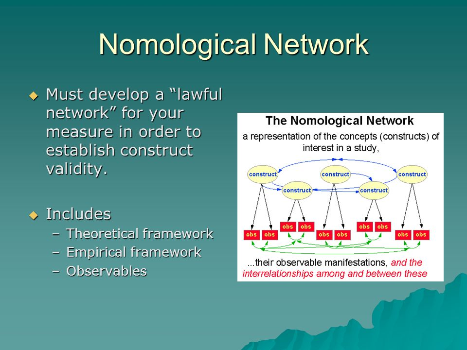 Nomological Network  Must develop a lawful network for your measure in order to establish construct validity.
