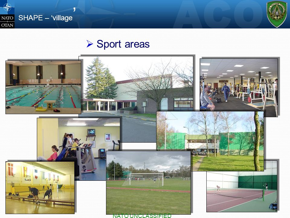  Sport areas SHAPE – 'village ' NATO UNCLASSIFIED
