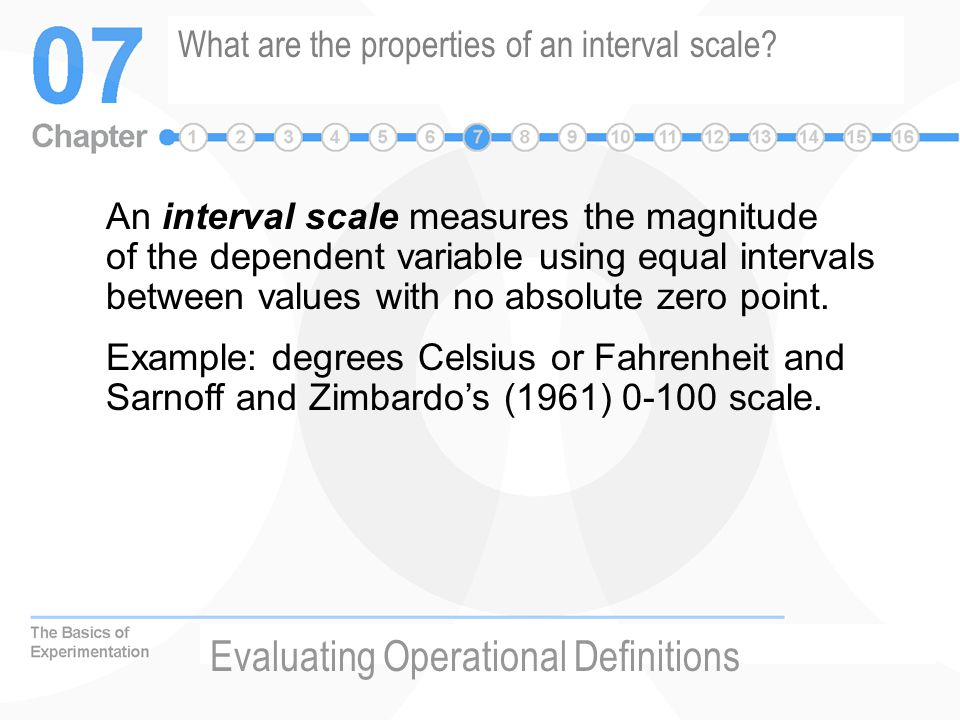 What are the properties of an interval scale.
