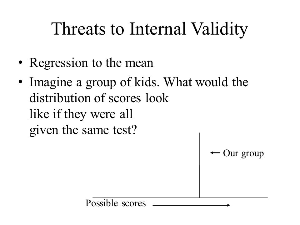 Threats to Internal Validity Regression to the mean Imagine a group of kids. What would the distribution of scores look like if they were all given th