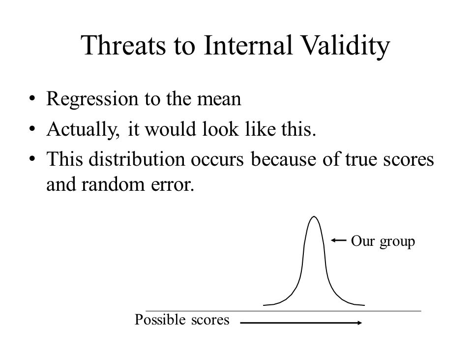 Threats to Internal Validity Regression to the mean Actually, it would look like this.