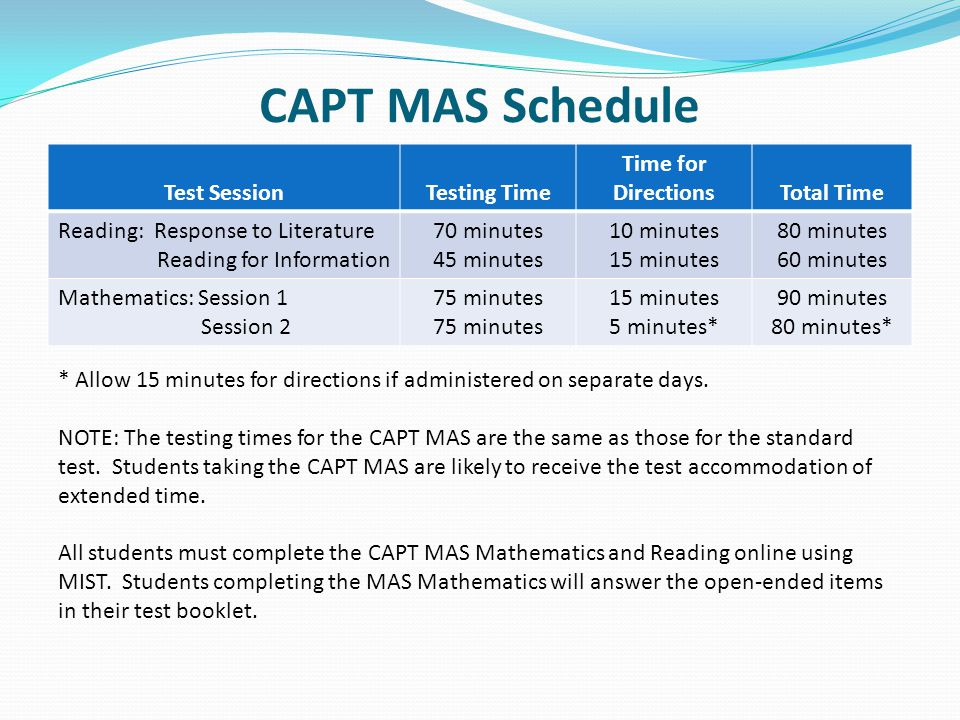 CAPT MAS Schedule Test SessionTesting Time Time for DirectionsTotal Time Reading: Response to Literature Reading for Information 70 minutes 45 minutes 10 minutes 15 minutes 80 minutes 60 minutes Mathematics: Session 1 Session 2 75 minutes 15 minutes 5 minutes* 90 minutes 80 minutes* * Allow 15 minutes for directions if administered on separate days.