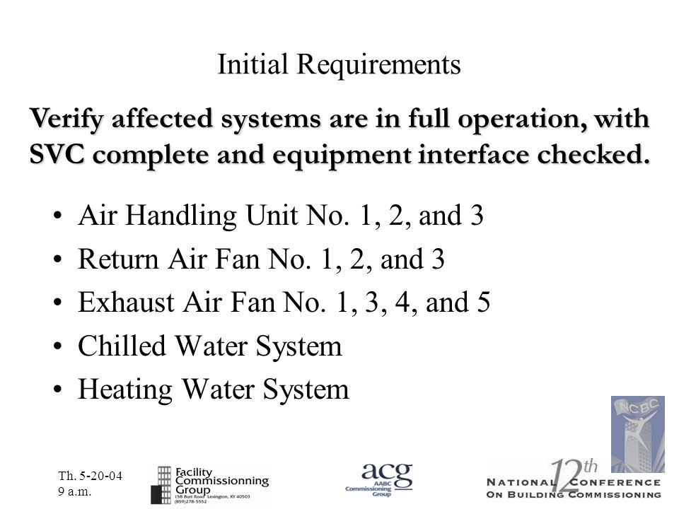 Th. 5-20-04 9 a.m. Initial Requirements Air Handling Unit No. 1, 2, and 3 Return Air Fan No. 1, 2, and 3 Exhaust Air Fan No. 1, 3, 4, and 5 Chilled Wa