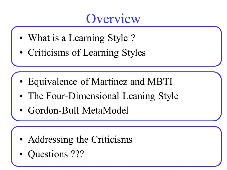 Overview What is a Learning Style ? Criticisms of Learning Styles Equivalence of Martinez and MBTI The Four-Dimensional Leaning Style Gordon-Bull Meta