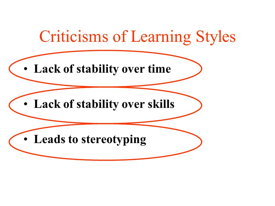 Criticisms of Learning Styles Lack of stability over time Lack of stability over skills Leads to stereotyping