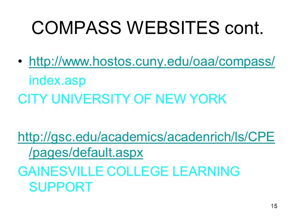 15 COMPASS WEBSITES cont.
