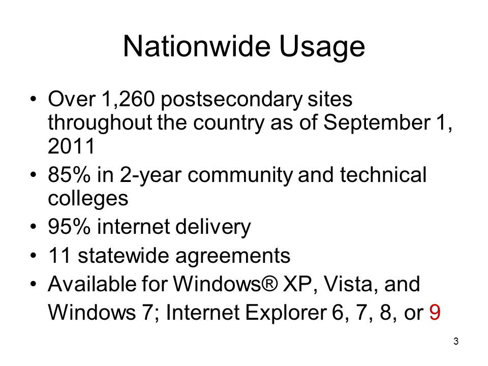 3 Nationwide Usage Over 1,260 postsecondary sites throughout the country as of September 1, 2011 85% in 2-year community and technical colleges 95% internet delivery 11 statewide agreements Available for Windows® XP, Vista, and Windows 7; Internet Explorer 6, 7, 8, or 9