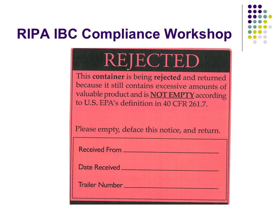 RIPA IBC Compliance Workshop