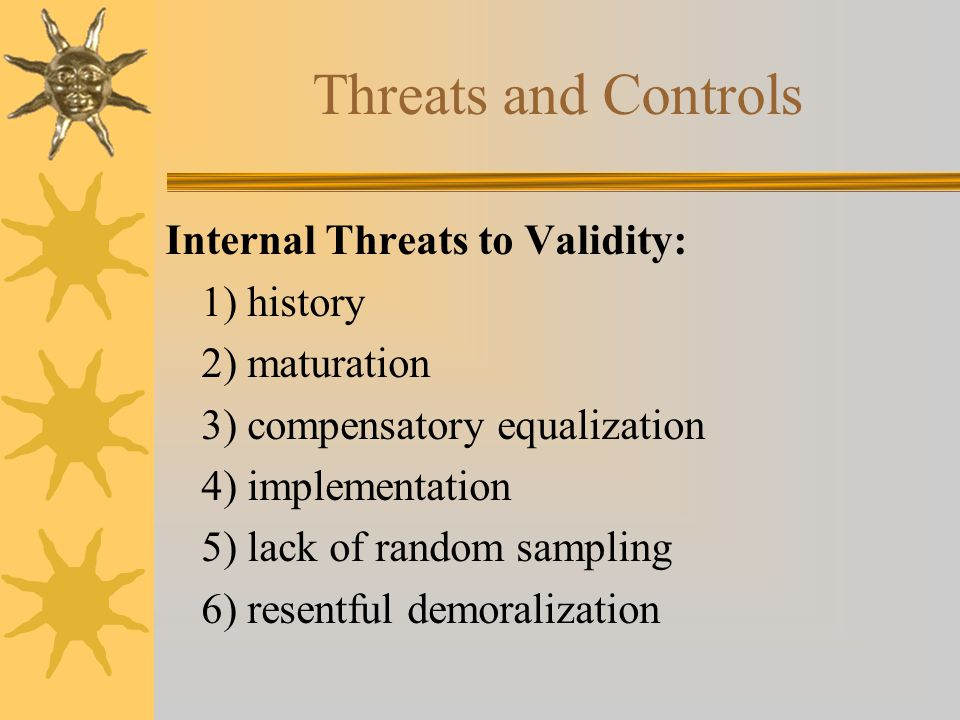 Threats and Controls Internal Threats to Validity: 1) history 2) maturation 3) compensatory equalization 4) implementation 5) lack of random sampling 6) resentful demoralization
