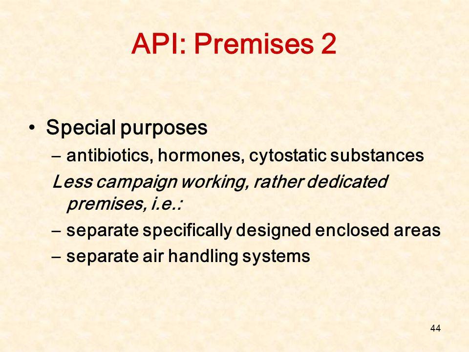 44 API: Premises 2 Special purposes –antibiotics, hormones, cytostatic substances Less campaign working, rather dedicated premises, i.e.: –separate sp
