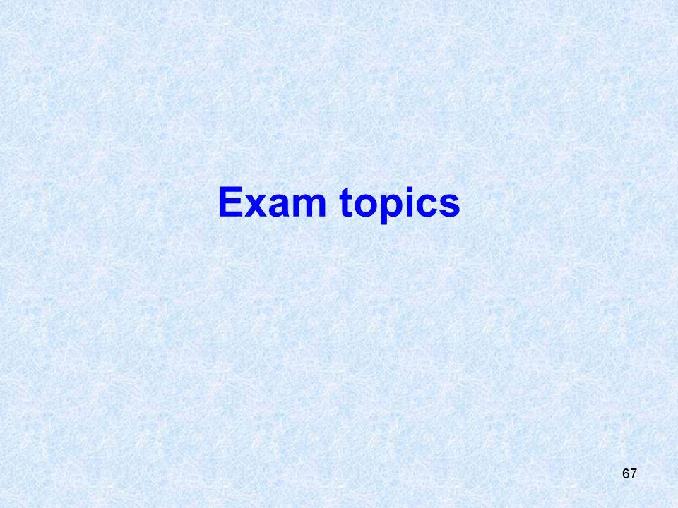 67 Exam topics