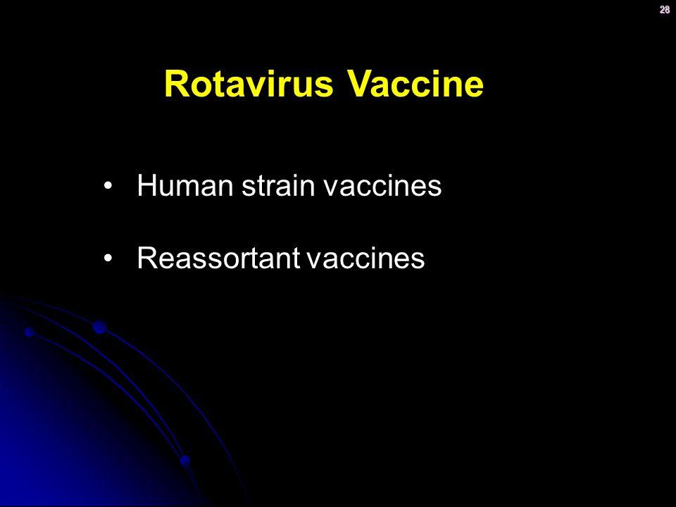 28 Rotavirus Vaccine Human strain vaccines Reassortant vaccines