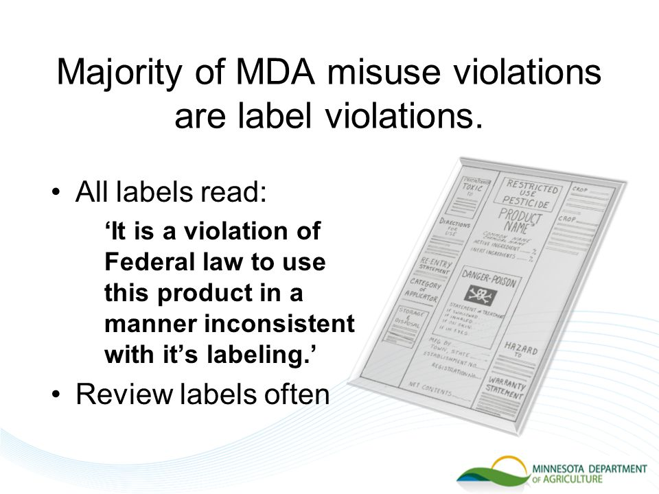 MDA Sample Records  Sample records available on web – www.mda.state.mn.us www.mda.state.mn.us  Samples illustrate requirements – compare to your records