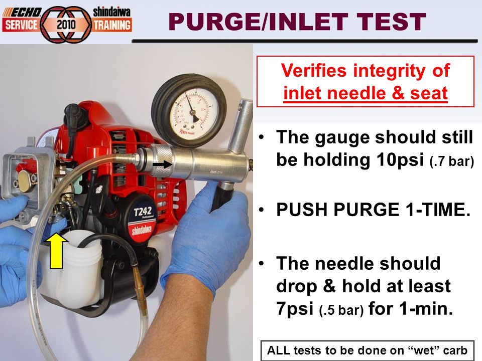 PURGE/INLET TEST The gauge should still be holding 10psi (.7 bar) PUSH PURGE 1-TIME.