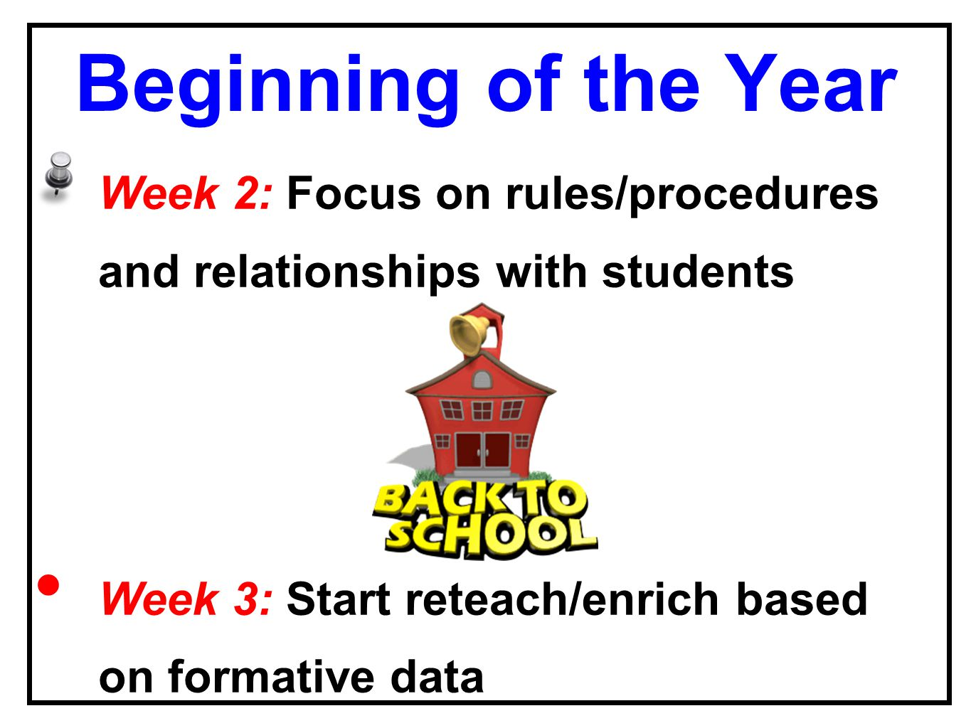 Beginning of the Year Week 2: Focus on rules/procedures and relationships with students Week 3: Start reteach/enrich based on formative data