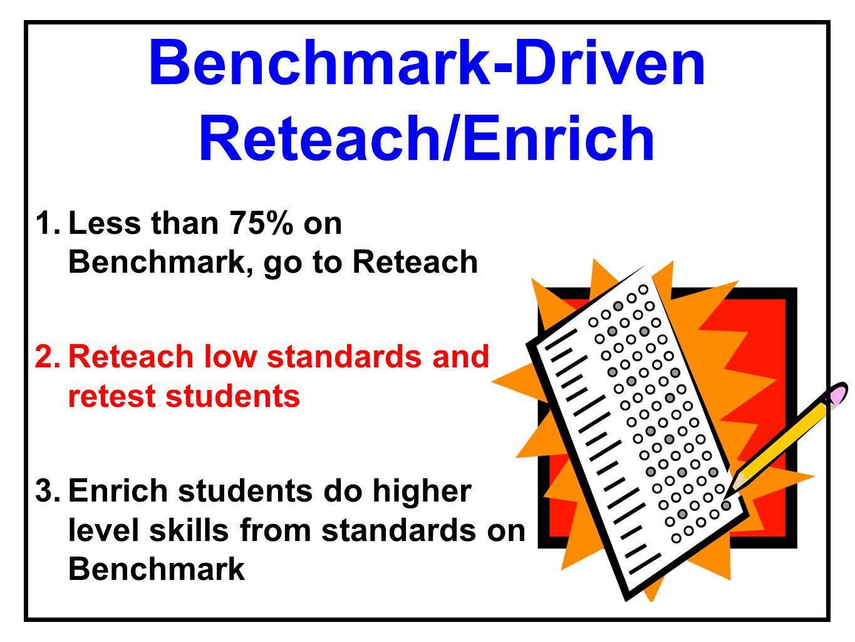 Benchmark-Driven Reteach/Enrich 1.Less than 75% on Benchmark, go to Reteach 2.Reteach low standards and retest students 3.Enrich students do higher le