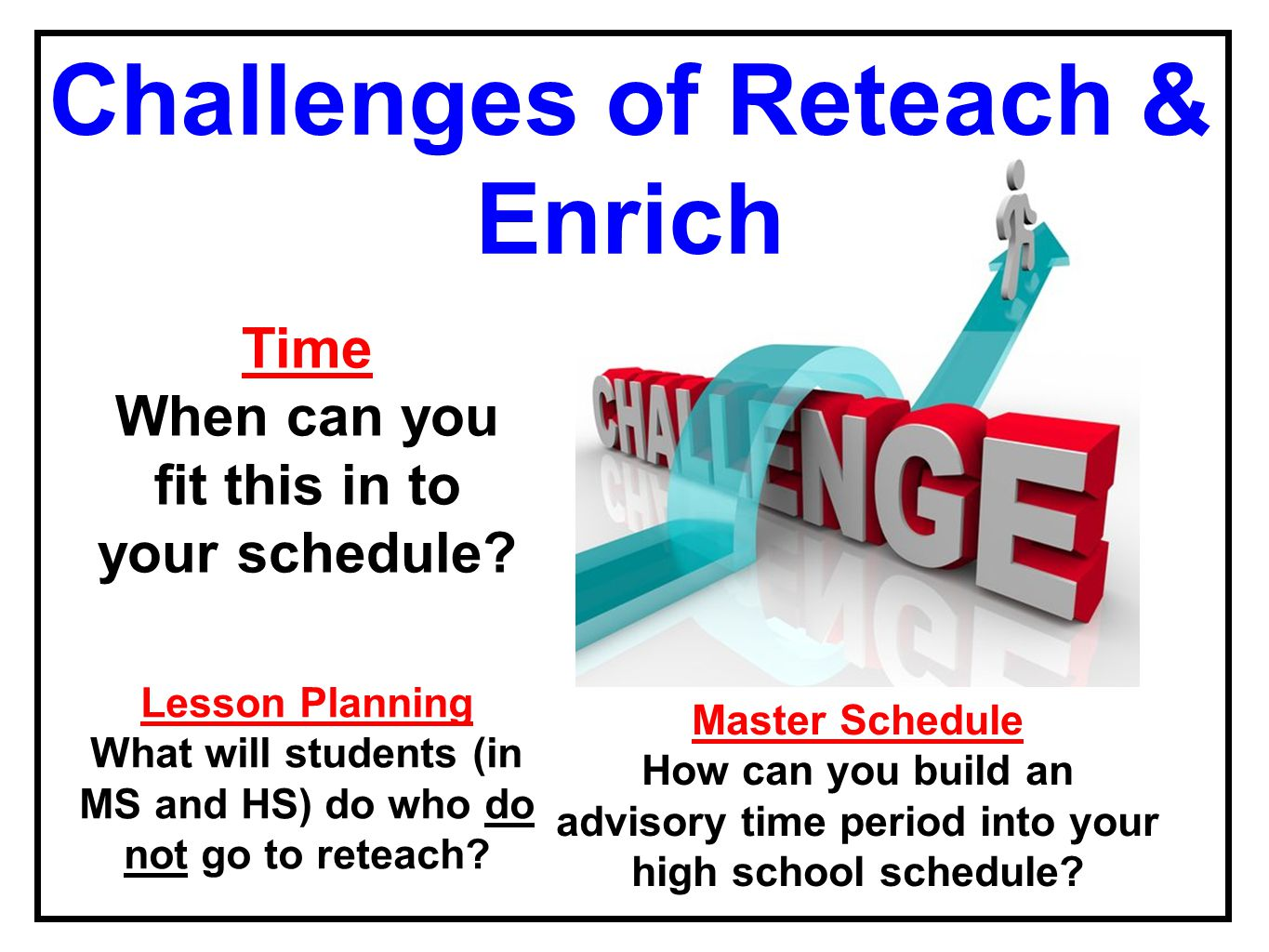 Time When can you fit this in to your schedule? Master Schedule How can you build an advisory time period into your high school schedule? Lesson Plann