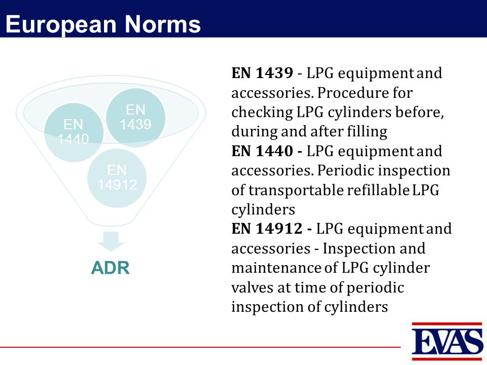 EN 1439 - LPG equipment and accessories. Procedure for checking LPG cylinders before, during and after filling EN 1440 - LPG equipment and accessories
