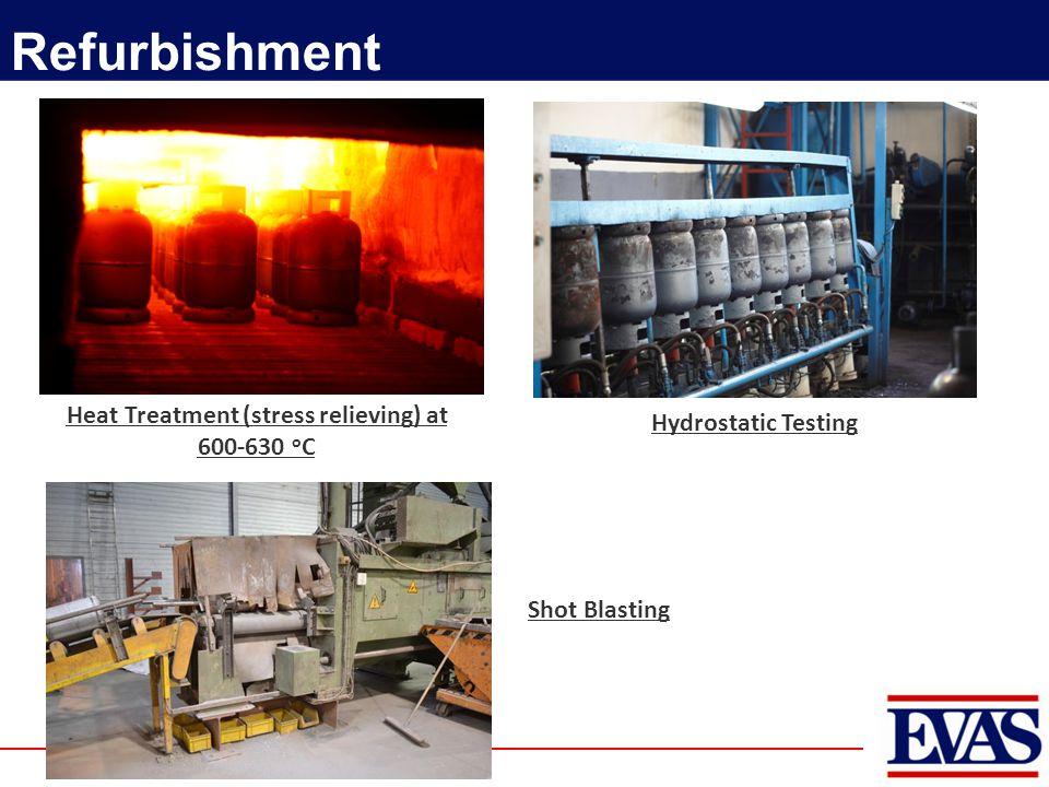 Heat Treatment (stress relieving) at 600-630 o C Refurbishment Hydrostatic Testing Shot Blasting