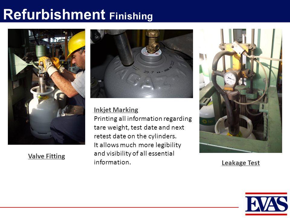 Valve Fitting Refurbishment Finishing Inkjet Marking Printing all information regarding tare weight, test date and next retest date on the cylinders.
