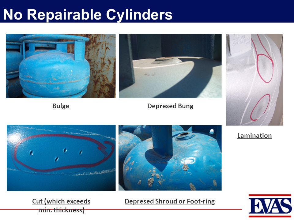 No Repairable Cylinders BulgeDepresed Bung Lamination Cut (which exceeds min. thickness) Depresed Shroud or Foot-ring