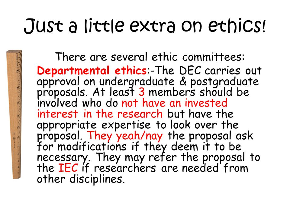 Just a little extra on ethics.