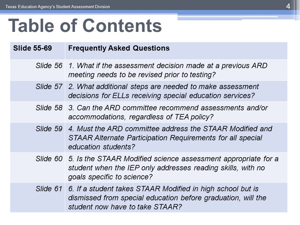 Step II: Discuss Assurances  When an alternate assessment is selected, IDEA and The Legal Framework for the Child- Centered Special Education Process require ARD committees to document in the IEP:  A statement of why student cannot participate in general assessment with or without allowable accommodations, AND… Texas Education Agency s Student Assessment Division 35