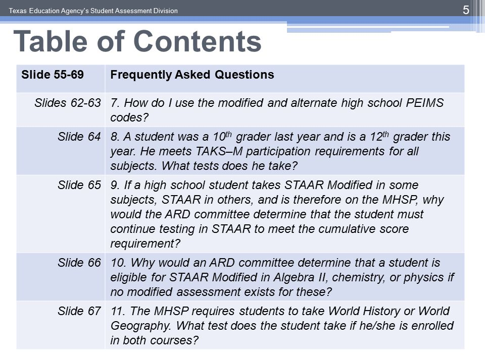 Table of Contents Texas Education Agency s Student Assessment Division 6 Slides 55-69Frequently Asked Questions Slide 6812.