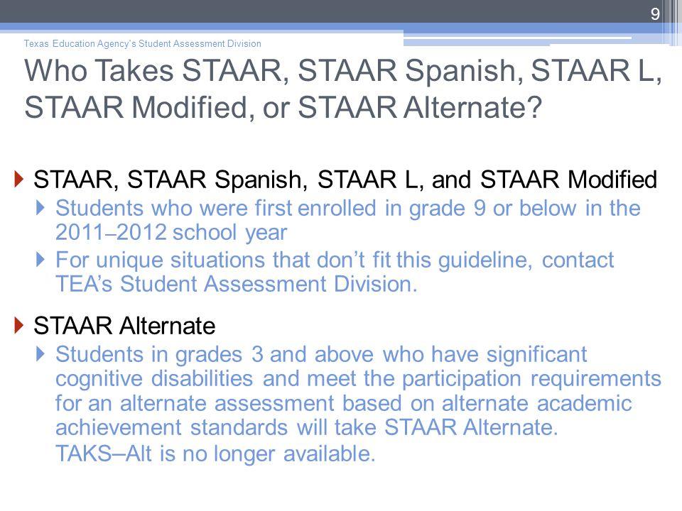 Who Takes STAAR, STAAR Spanish, STAAR L, STAAR Modified, or STAAR Alternate.
