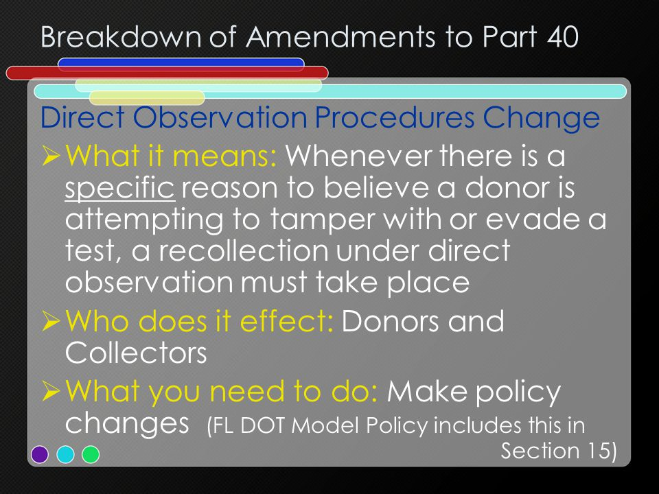 Breakdown of Amendments to Part 40 Direct Observation Procedures Change  What it means: Whenever there is a specific reason to believe a donor is attempting to tamper with or evade a test, a recollection under direct observation must take place  Who does it effect: Donors and Collectors  What you need to do: Make policy changes (FL DOT Model Policy includes this in Section 15)