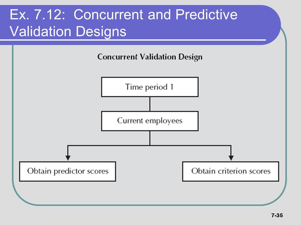 7-35 Ex. 7.12: Concurrent and Predictive Validation Designs