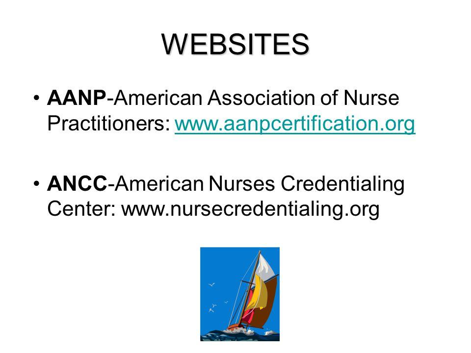 WEBSITES AANP-American Association of Nurse Practitioners: www.aanpcertification.orgwww.aanpcertification.org ANCC-American Nurses Credentialing Cente