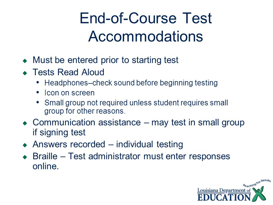 Accommodations Issues Transferred Responses STC must verify that responses are transferred.
