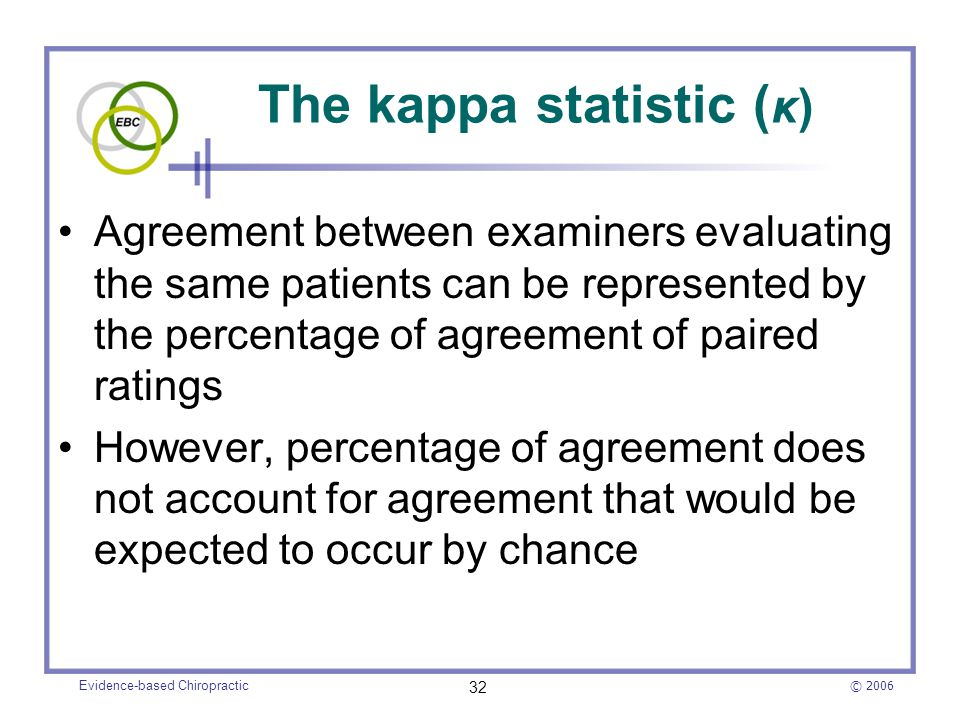 © 2006 Evidence-based Chiropractic 32 The kappa statistic ( κ) Agreement between examiners evaluating the same patients can be represented by the perc