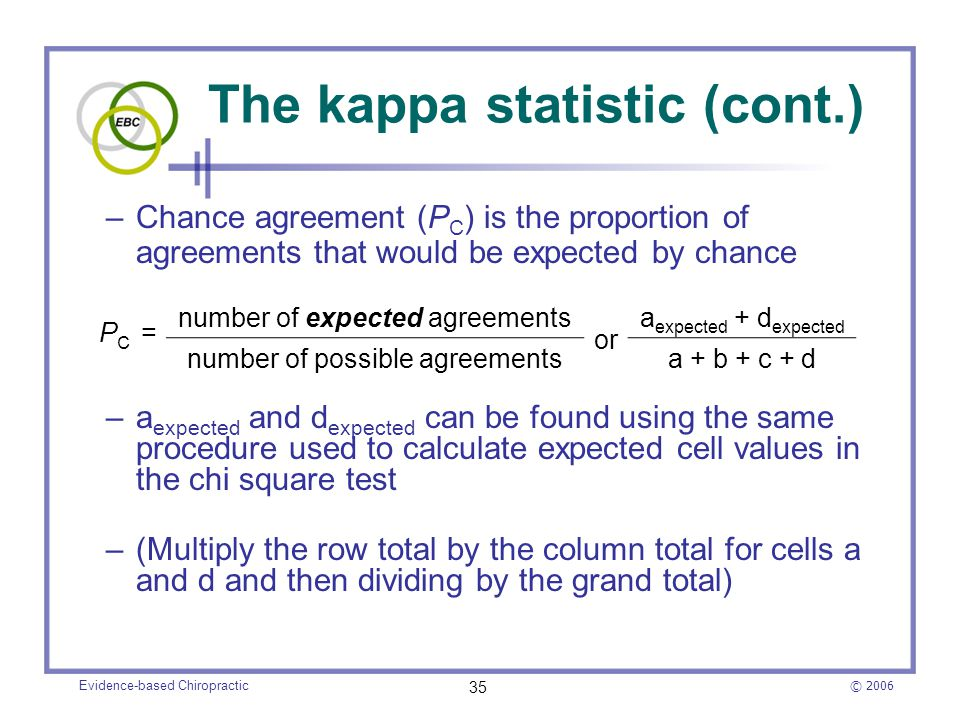 © 2006 Evidence-based Chiropractic 35 The kappa statistic (cont.) –Chance agreement (P C ) is the proportion of agreements that would be expected by c