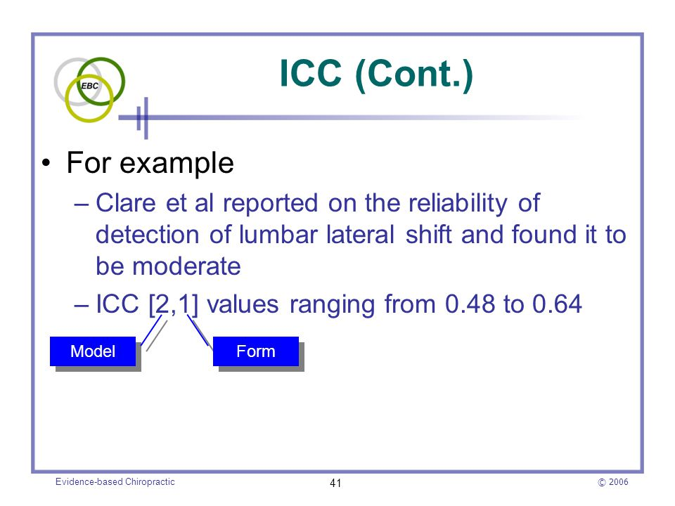 © 2006 Evidence-based Chiropractic 41 ICC (Cont.) For example –Clare et al reported on the reliability of detection of lumbar lateral shift and found